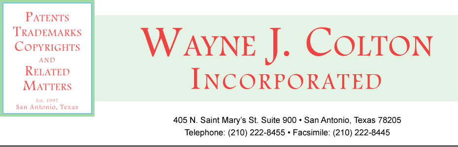 Print header for Wayne J. Colton, Inc. | Patent, Trademark & Copyright Attorneys